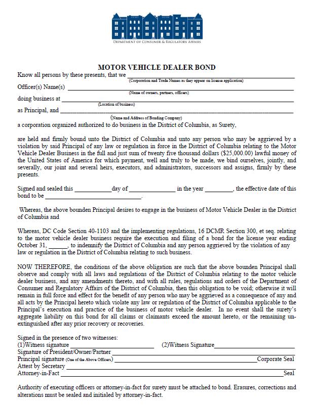 dc auto dealer bond form