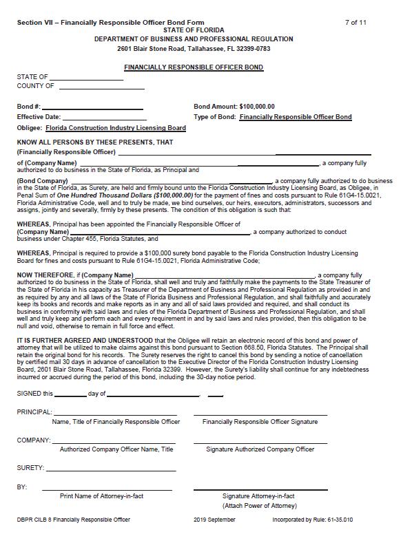 Florida Financially Responsible Officer Bond
