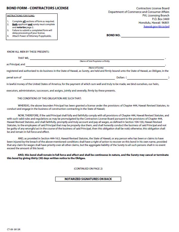 Hawaii Contractor License Bond
