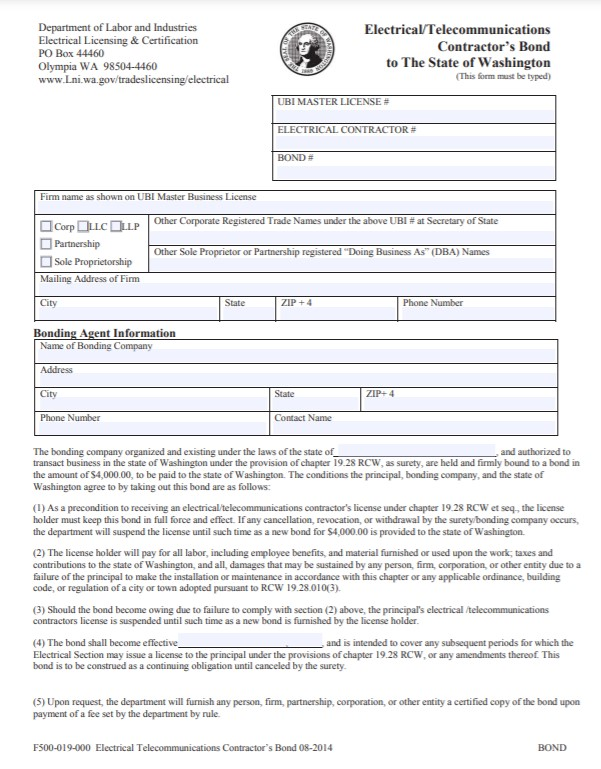 Washington Electrical/Telecommunications Contractor Bond Form