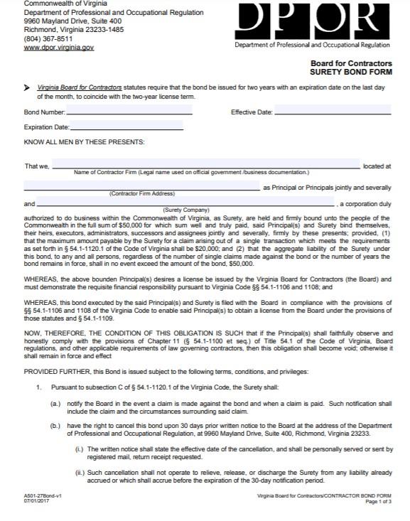 Virginia Contractor License Bond Form