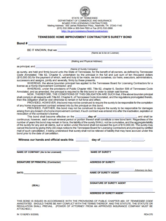 Tennessee Home Improvement Contractor Bond Form