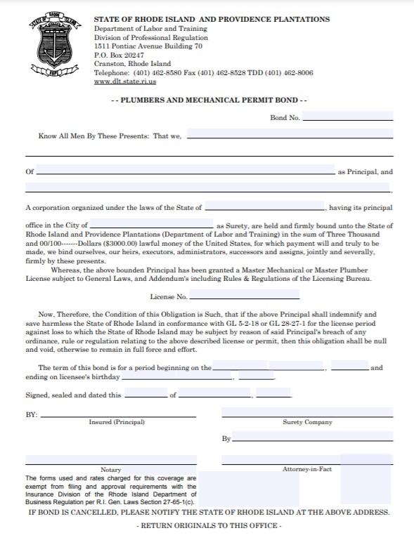 Rhode Island Plumbers and Mechanical Permit Bond Form