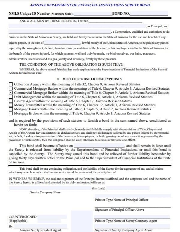 Arizona Commercial Mortgage Broker Bond Form