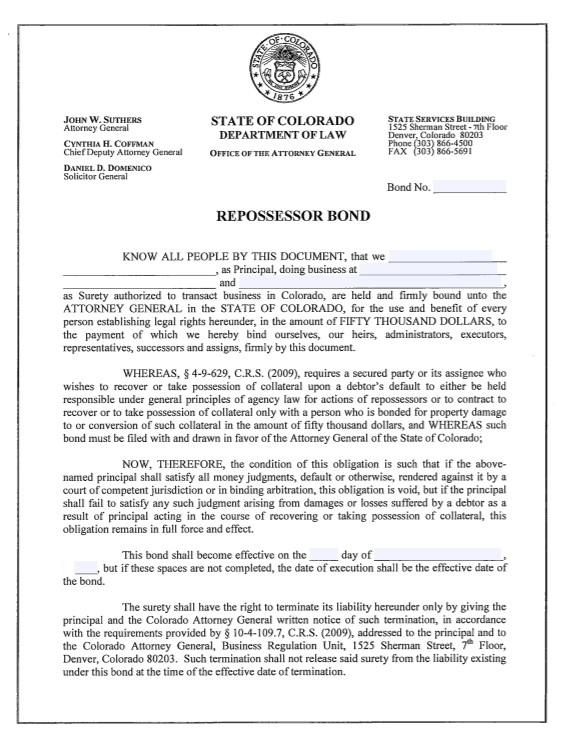 Colorado Repossessor Bond Form