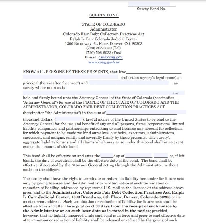 Colorado Collection Agency Bond Form