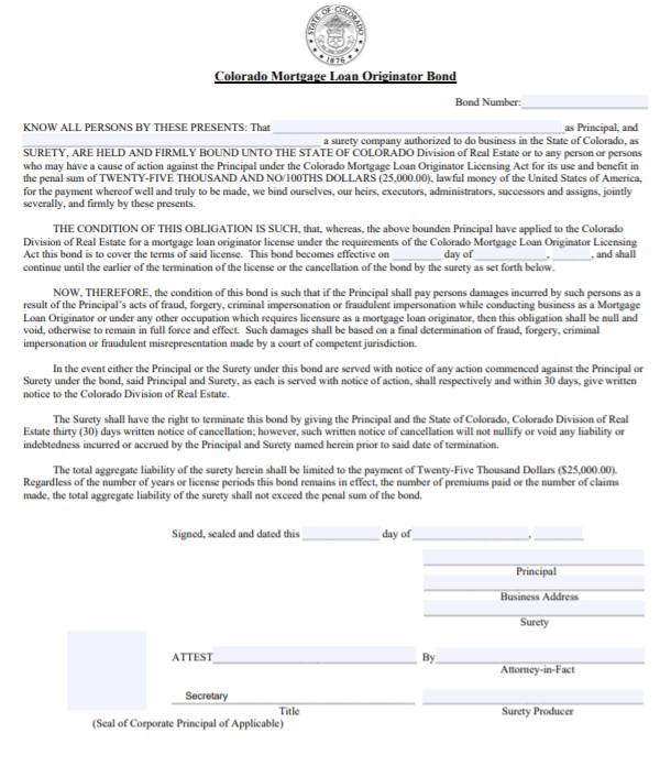 Colorado Mortgage Loan Originator Bond Form