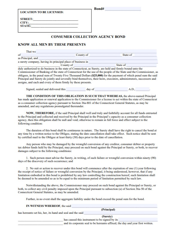 Connecticut Consumer Collection Agency Bond Form
