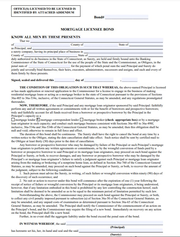 Connecticut Mortgage Correspondent Lender Bond Form