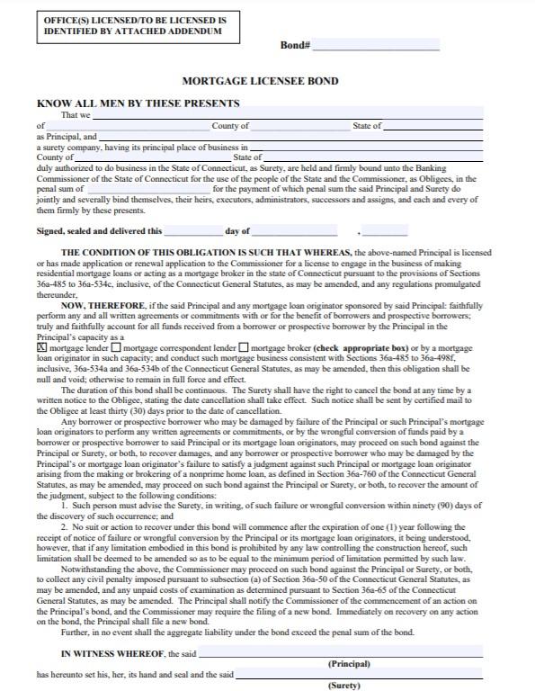Connecticut Mortgage Lender Bond Form