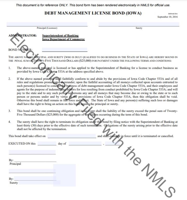 Iowa Debt Management Bond Form