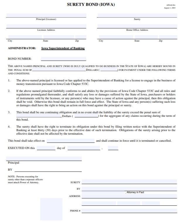 Iowa Delayed Deposit Services Bond Form