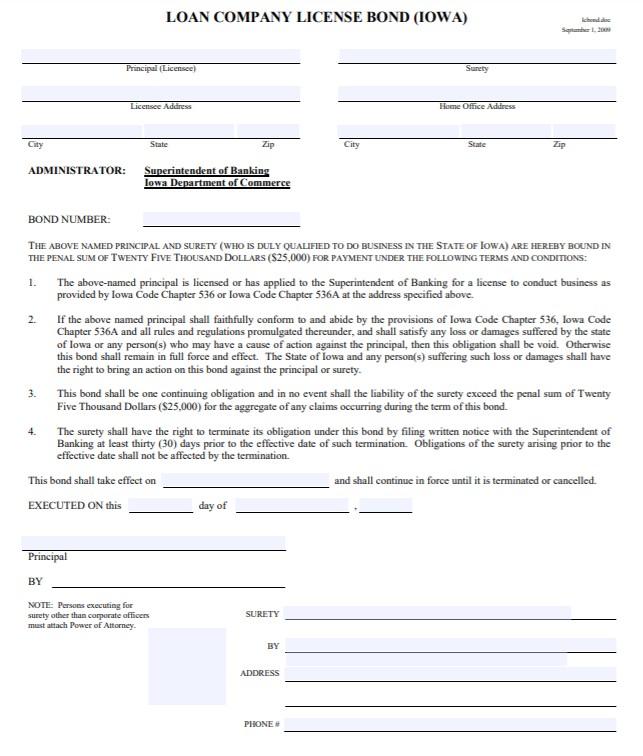 Iowa Loan Company Bond Form