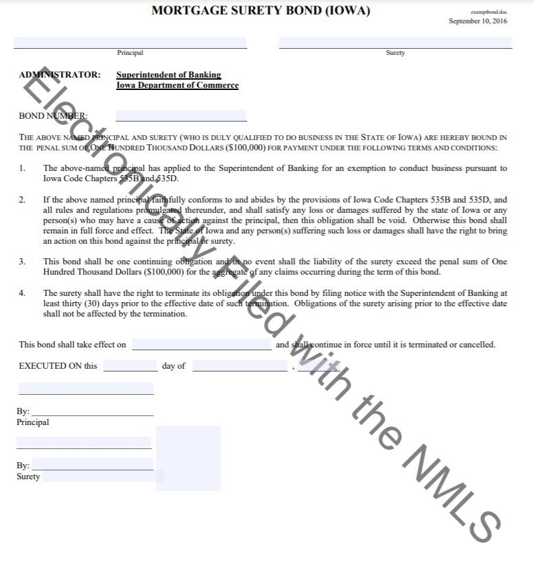 Iowa Exempt Company Registration Bond Form