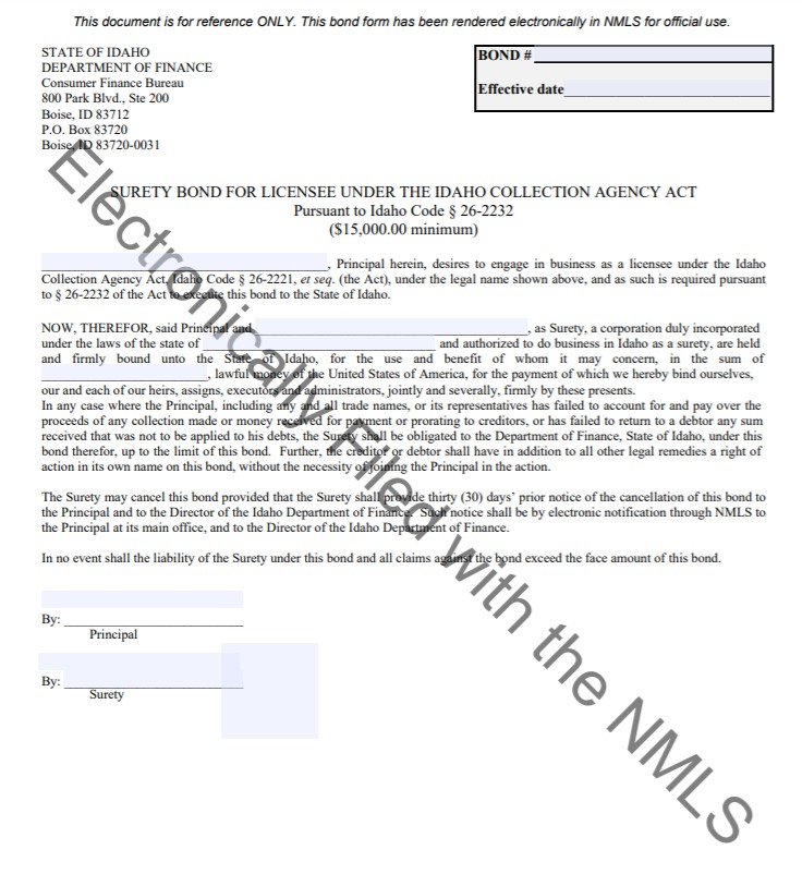 Idaho Collection Agency Bond Form