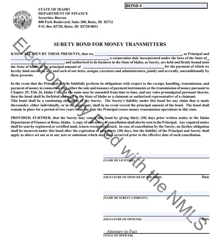 Idaho Money Transmitter Bond Form
