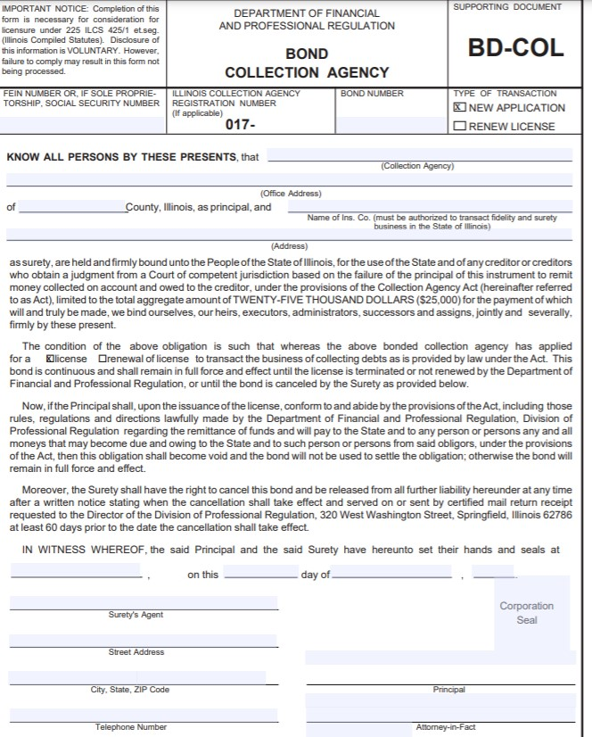 Illinois Collection Agency Bond Form