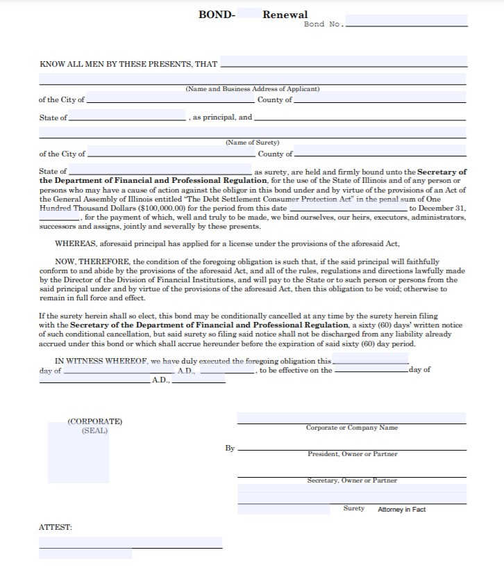 Illinois Debt Settlement Service Provider Bond Form