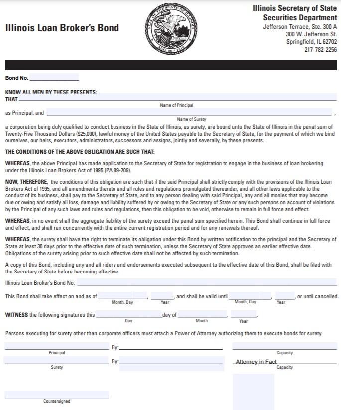 Illinois Loan Broker Bond Form