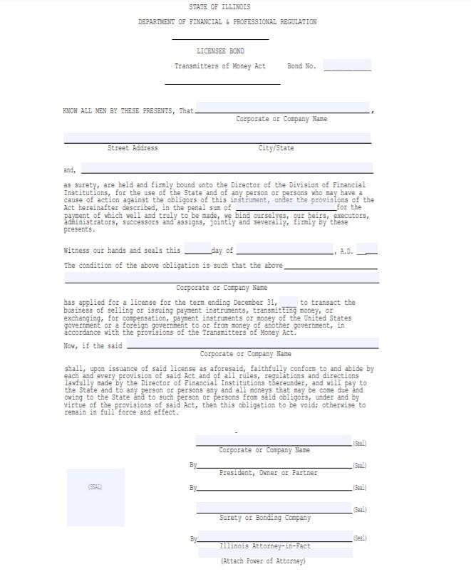 Illinois Money Transmitter Bond Form