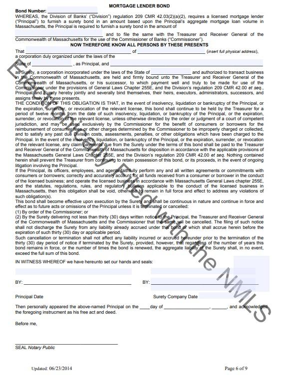 Massachusetts Mortgage Lender Bond Form