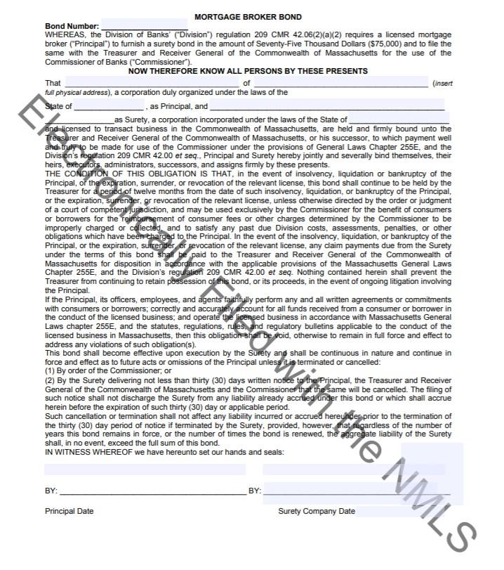 Massachusetts Mortgage Broker Bond Form