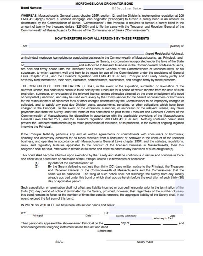 Massachusetts Mortgage Loan Originator Bond Form