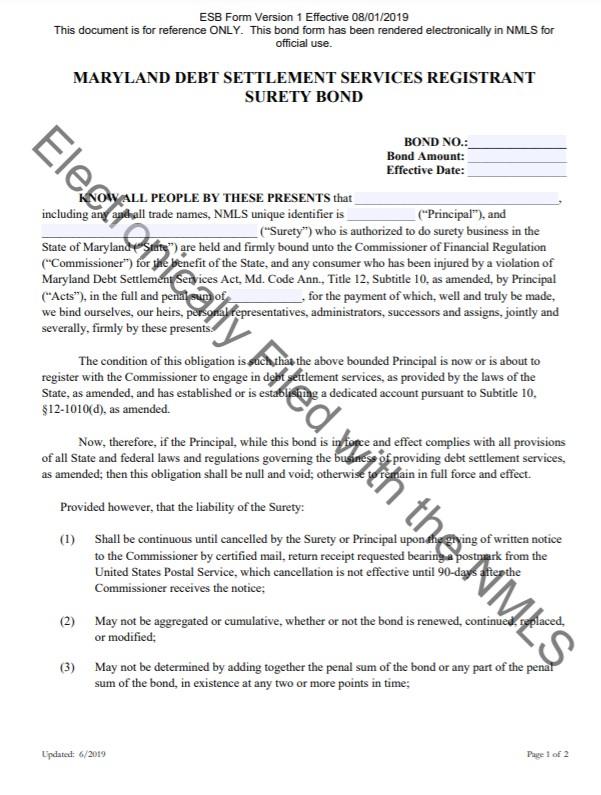 Maryland Debt Settlement Services Bond Form