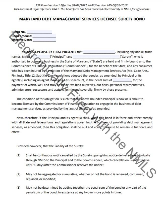 Maryland Debt Management Services Bond Form