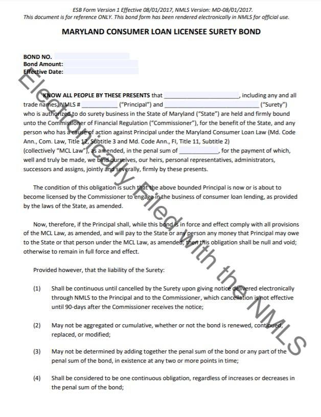 Maryland Consumer Loan Bond Form