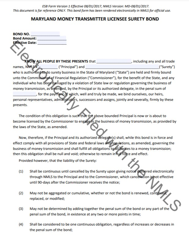 Maryland Money Transmitter Bond Form