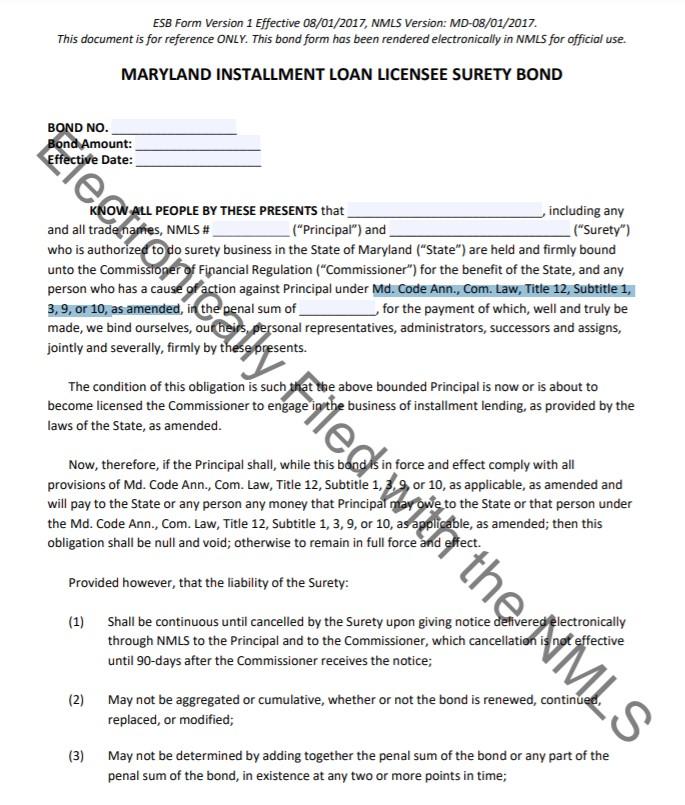 Maryland Installment Loan Bond Form