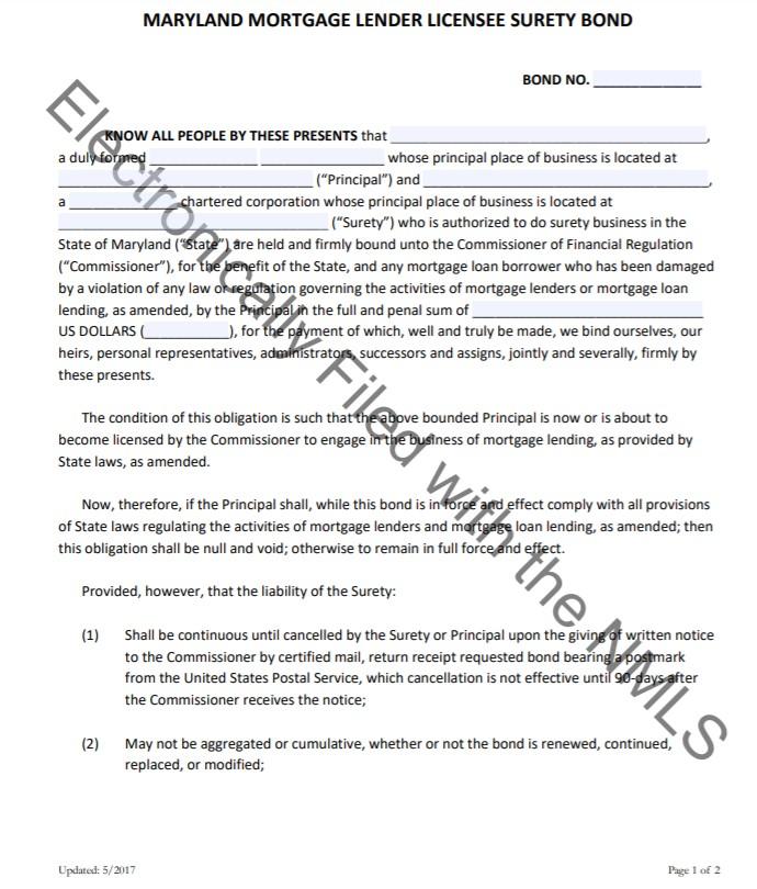 Maryland Mortgage Lender Bond Form