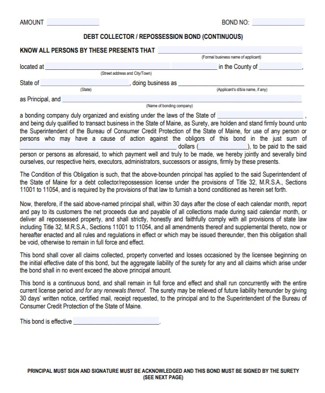 Maine Debt Collector Bond Form