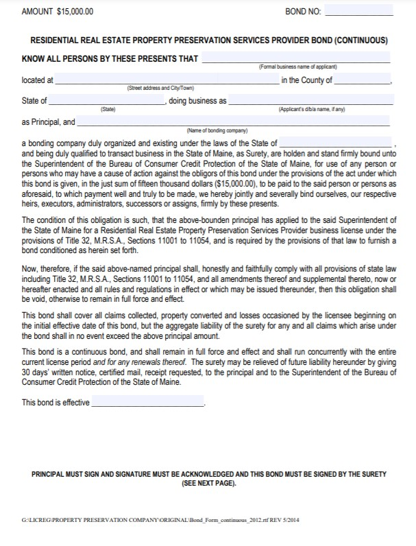 Maine Residential Real Estate Bond Form