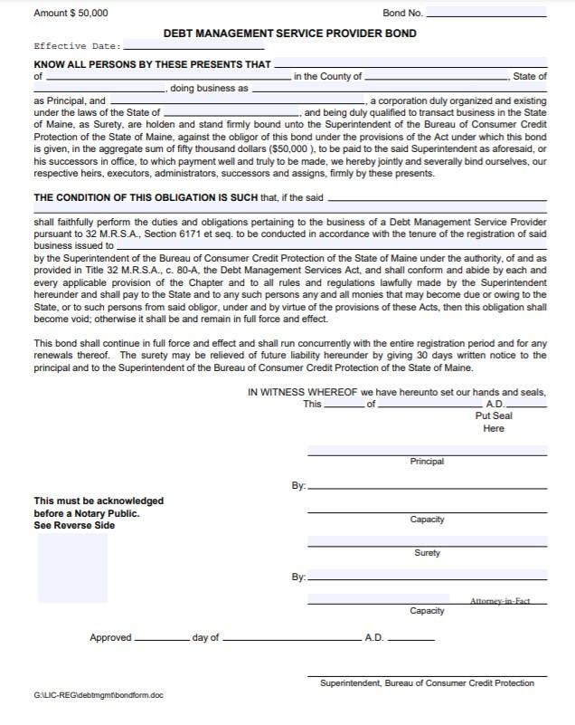 Maine Debt Management Service Provider Bond Form
