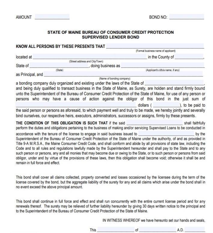 Maine Supervised Lender Bond Form