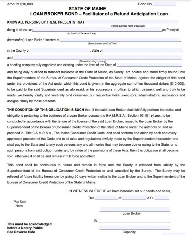 Maine Refund Anticipation Loan Broker Bond Form