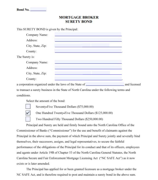 North Carolina Mortgage Broker Bond Form