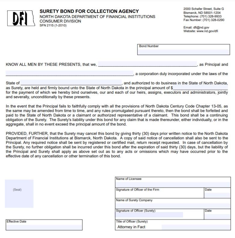 North Dakota Collection Agency Bond Form