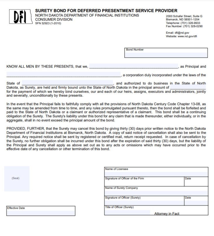 North Dakota Deferred Presentment Service Provider Bond Form