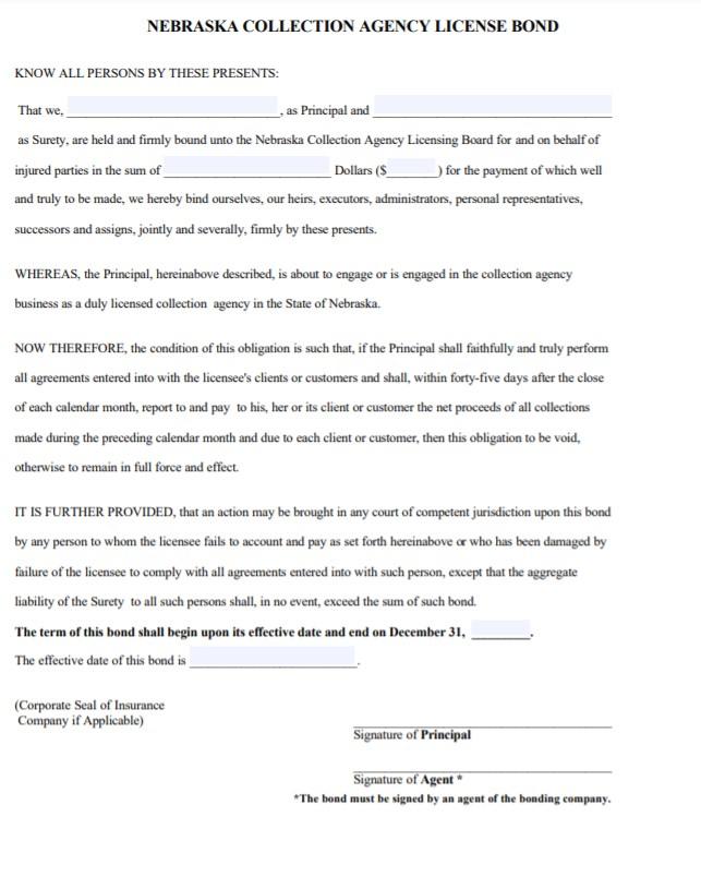 Nebraska Collection Agency Bond Form
