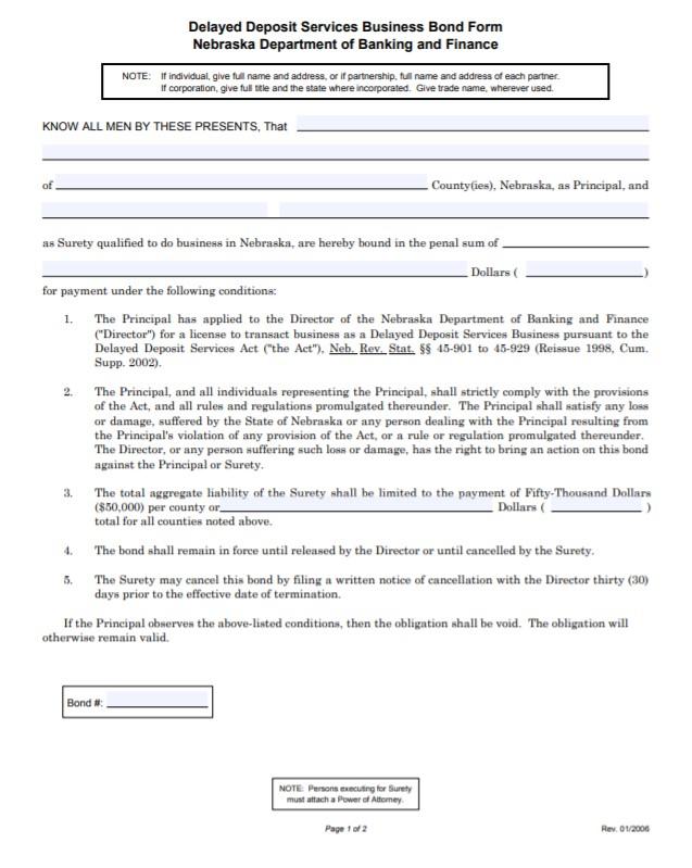 Nebraska Delayed Deposit Services Bond Form