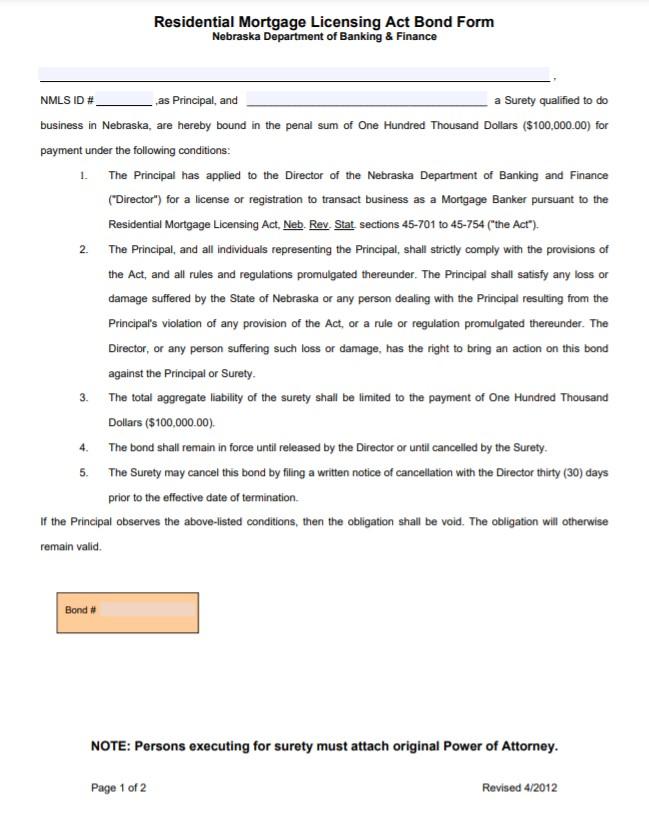 Nebraska Mortgage Banker Bond Form