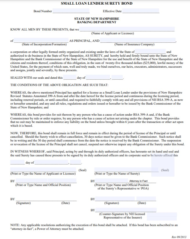 New Hampshire Small Loan Lender Bond Form