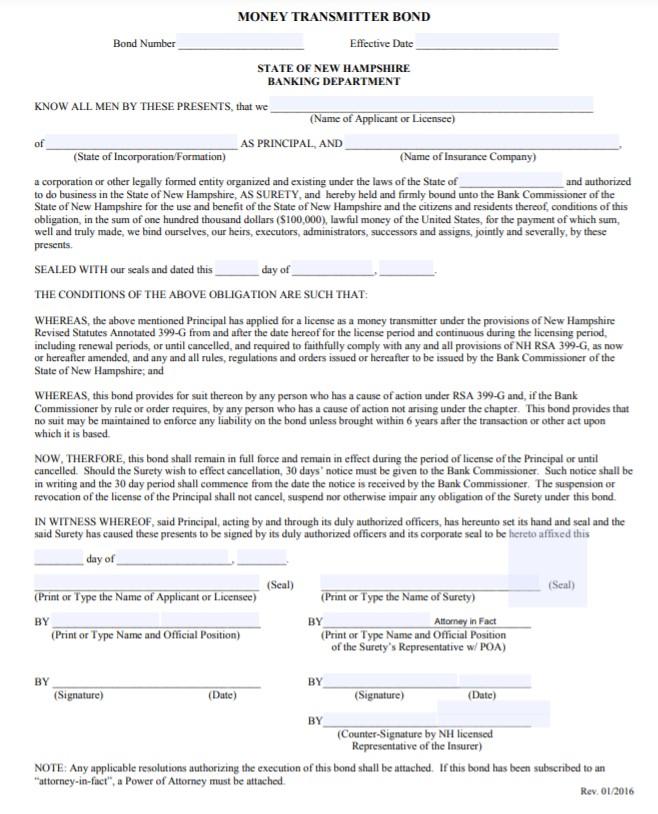 New Hampshire Money Transmitter Bond Form