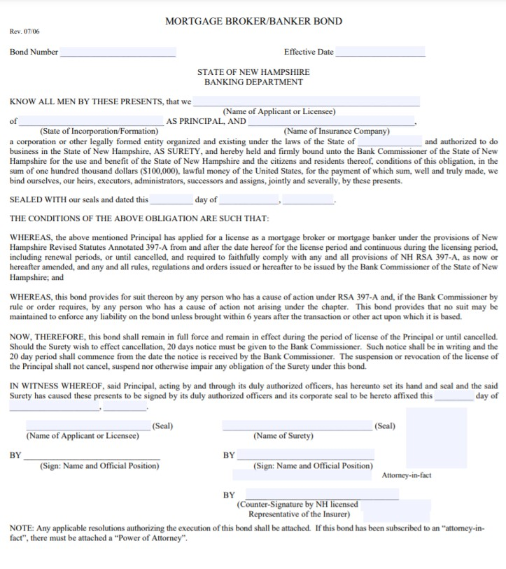 New Hampshire Mortgage Banker Bond Form