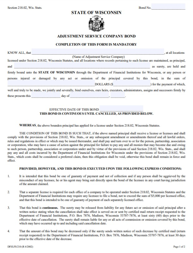 Wisconsin Adjustment Service Company Bond Form