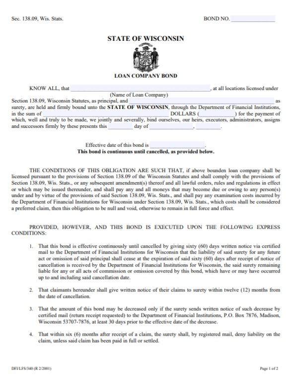 Wisconsin Loan Company Bond Form