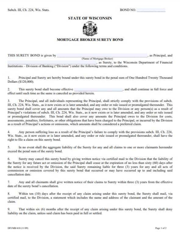 Wisconsin Mortgage Broker Bond Form